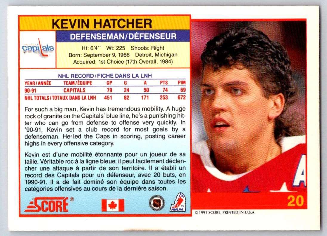 1991-92 Score Canadian Bilingual Kevin Hatcher #20 card back image