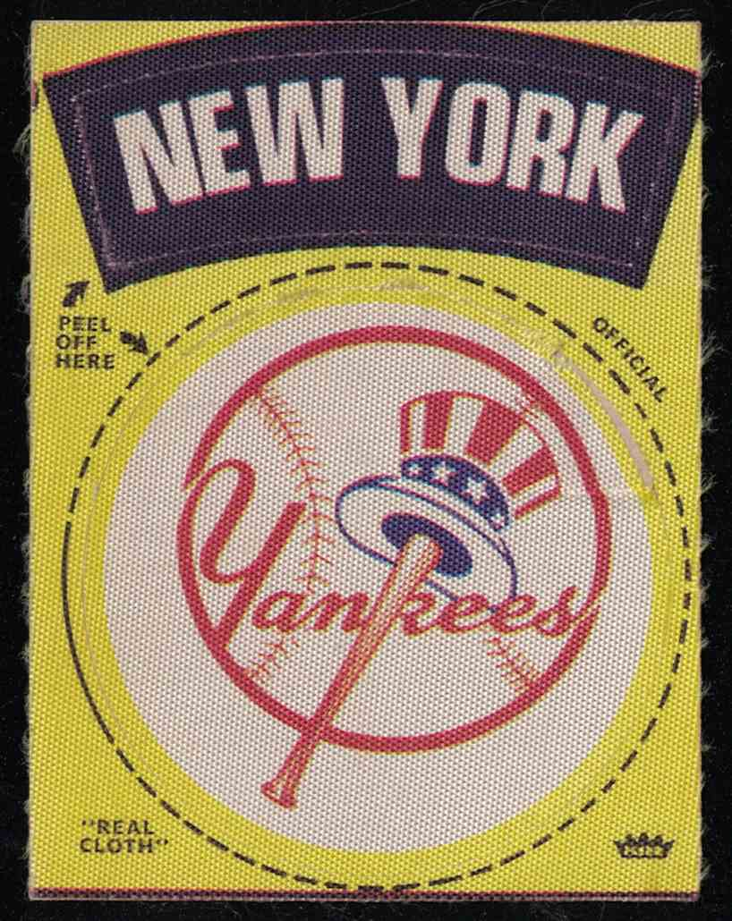 1969 Fleer 1969-1972 Baseball Cloth Team Patch New York Yankees card front image
