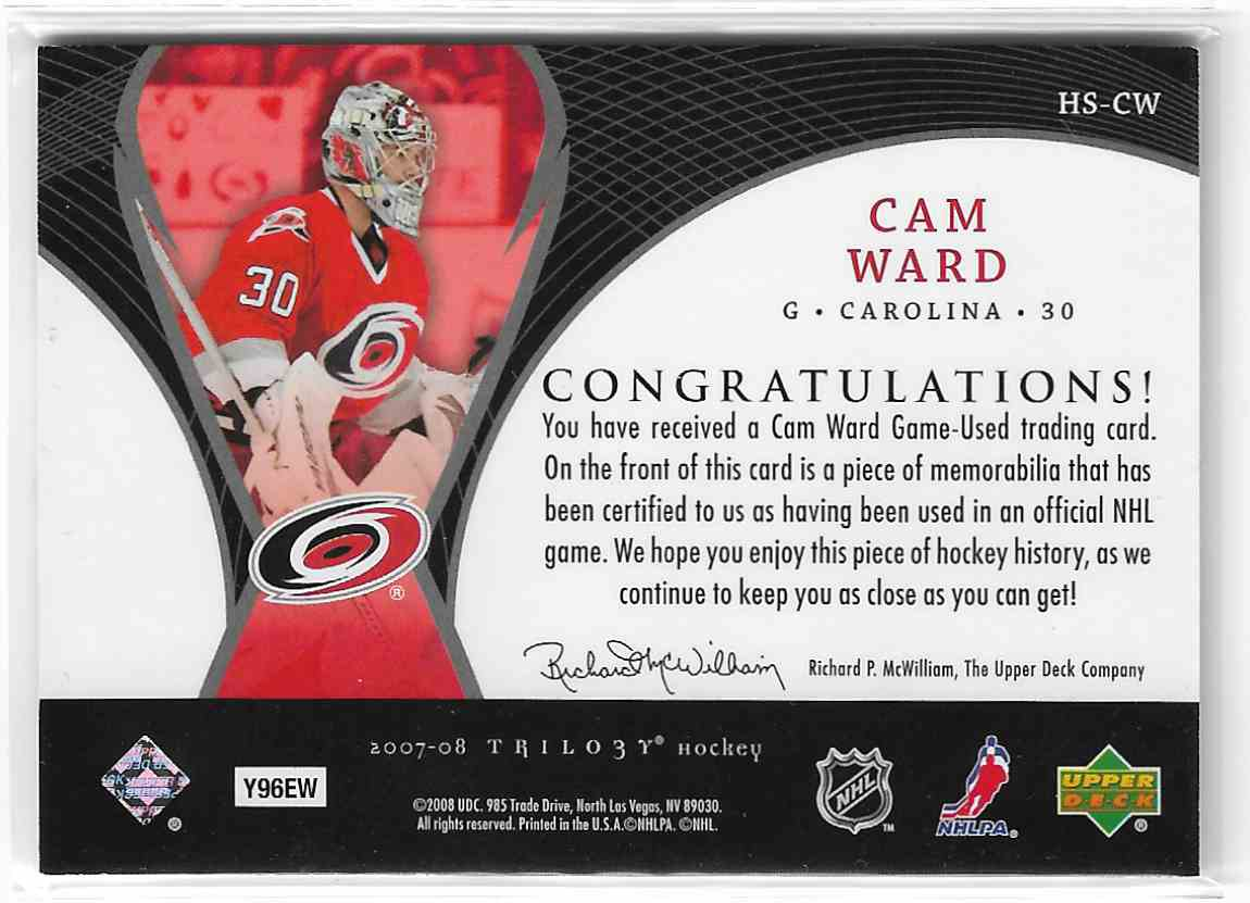 2007-08 Upper Deck Trilogy Honorary Swatches Cam Ward #HS-CW card back image