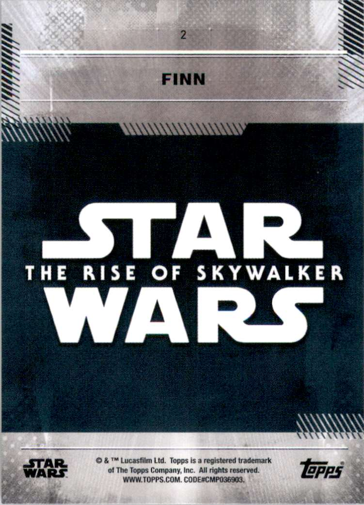 2019 Star Wars The Rise Of Skywalker Series One Finn #2 card back image