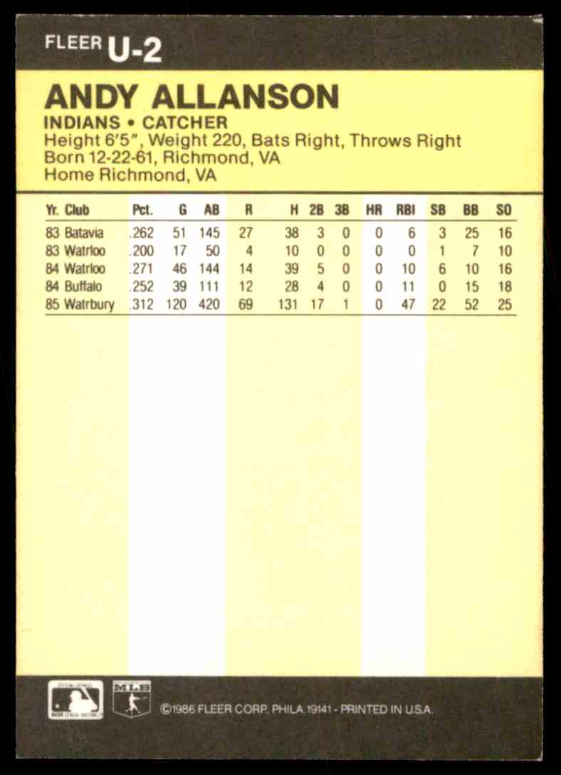 1986 Fleer Update Andy Allanson #U-2 card back image