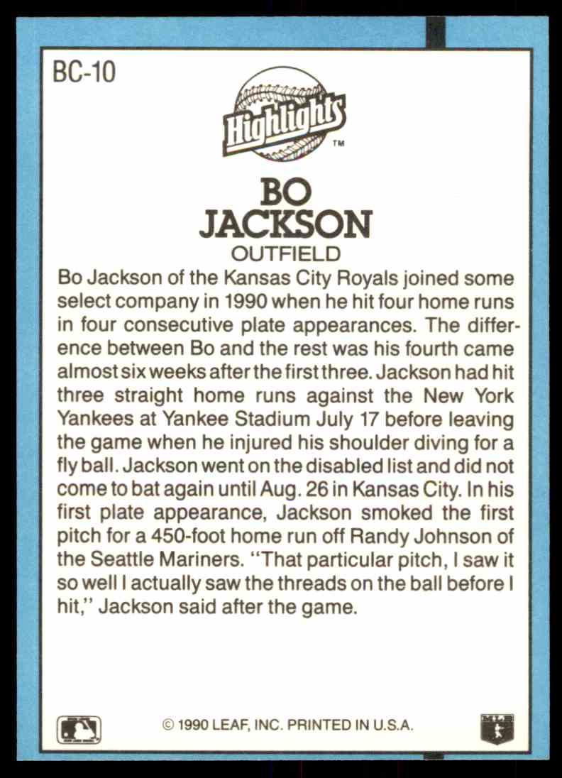 1991 Donruss Bonus Cards Bo Jackson #BC10 on Kronozio