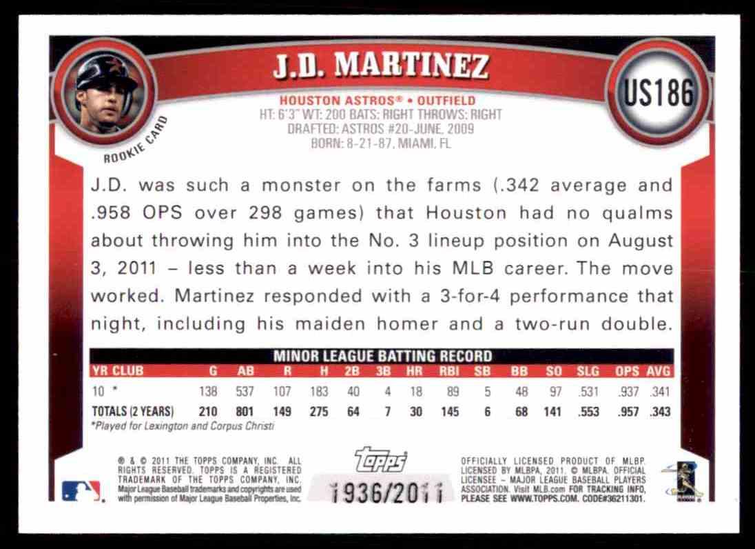 2011 Topps Update Gold J.D. Martinez #US186 card back image