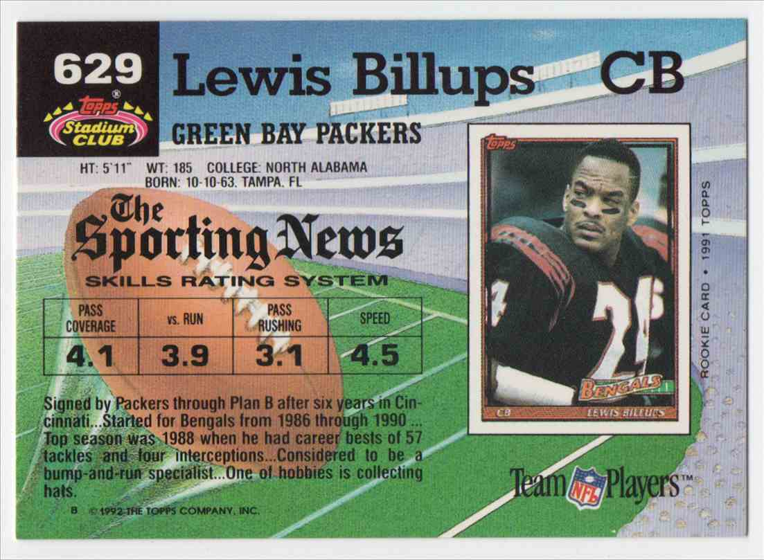 1992 Stadium Club Lewis Billups #629 card back image