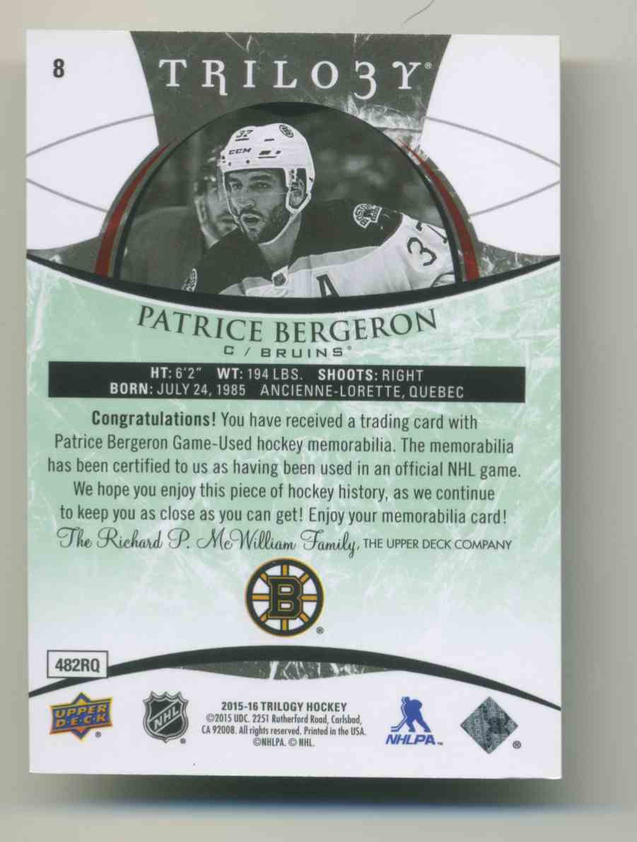 2015-16 Upper Deck Trilogy Rainbow Green Patrice Bergeron #8 card back image