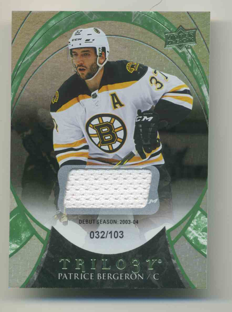 2015-16 Upper Deck Trilogy Rainbow Green Patrice Bergeron #8 card front image