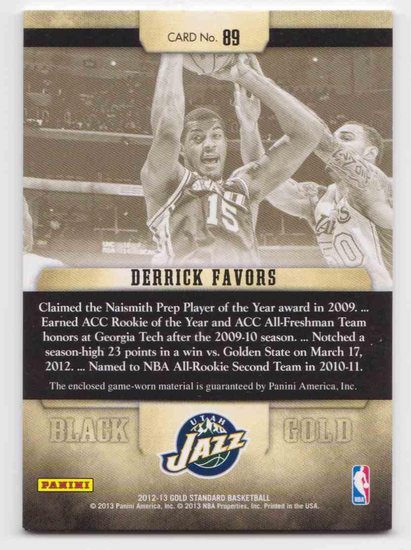 2012-13 Panini Gold Standard Black Gold Derrick Favors #89 card back image