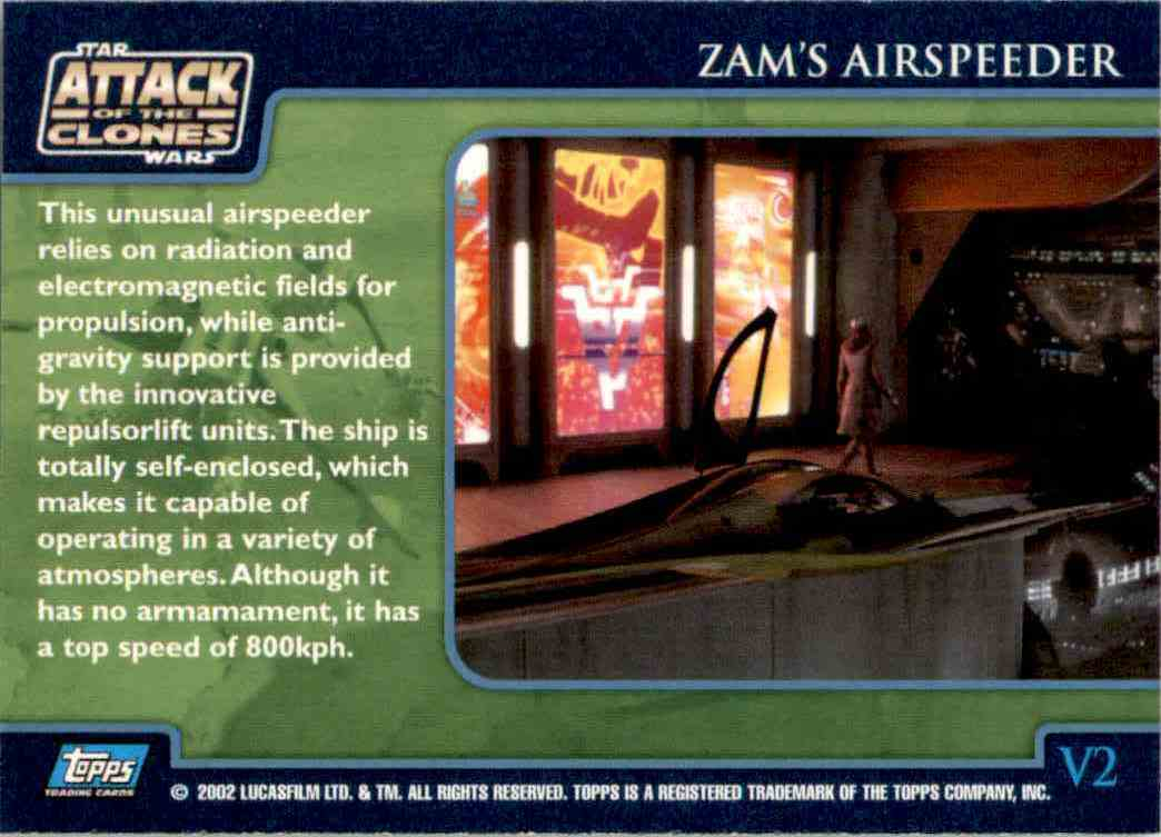 2002 Star Wars Attack Of The Clones Uk The Vehicles Zam's Airspeeder #V2 card back image