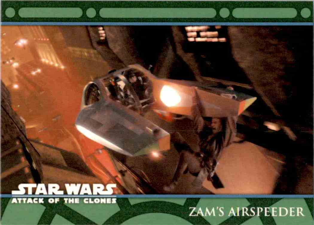 2002 Star Wars Attack Of The Clones Uk The Vehicles Zam's Airspeeder #V2 card front image