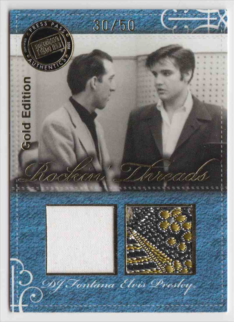2008 Press Pass By The Numbers Rockin' Threads Gold Elvis Presley D.J. Fontana #RT-1 card front image