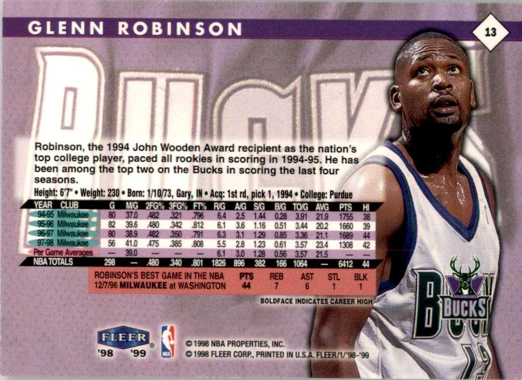 1998-99 Fleer Glenn Robinson #13 card back image