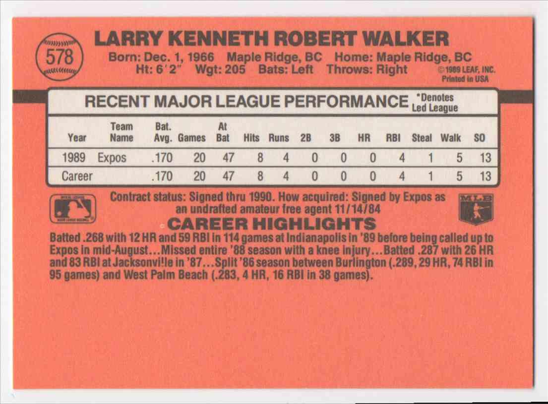 1990 Donruss Larry Walker #578 card back image