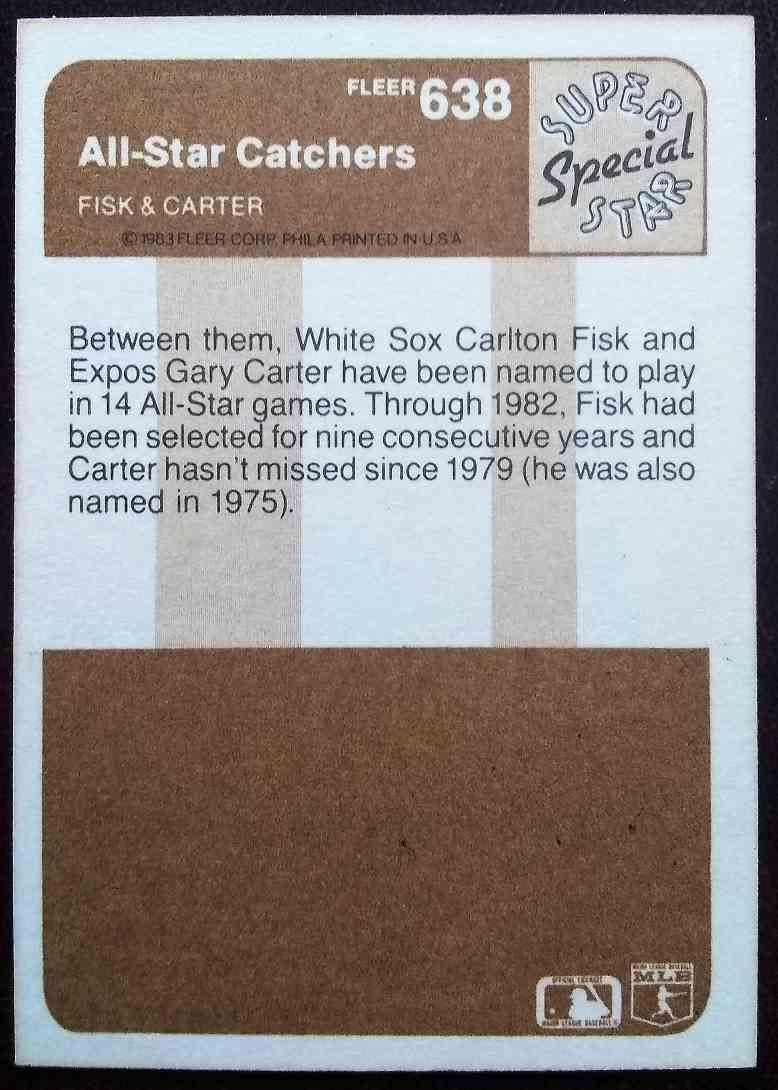 1983 Fleer Carlton Fisk Gary Carter #638 card back image