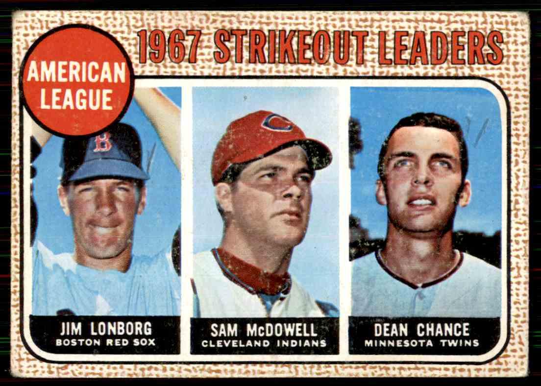 1968 Topps Jim Lonborg/Sam McDowell/Dean Chance #12 card front image