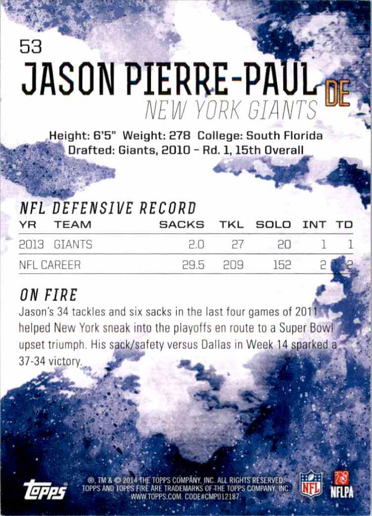 2014 Topps Fire Blue Jason Pierre-Paul #53 card back image