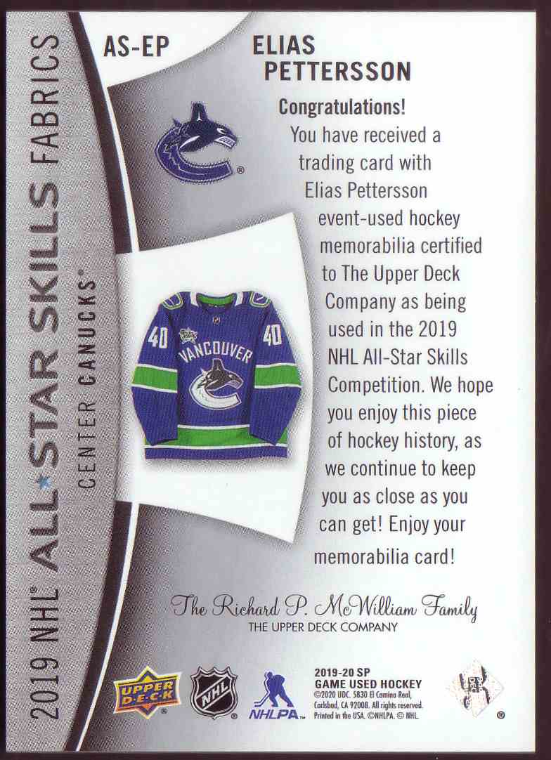 2019-20 SP Game Used 2019 NHL All-Star Skills Fabrics Elias Pettersson #AS-EP card back image