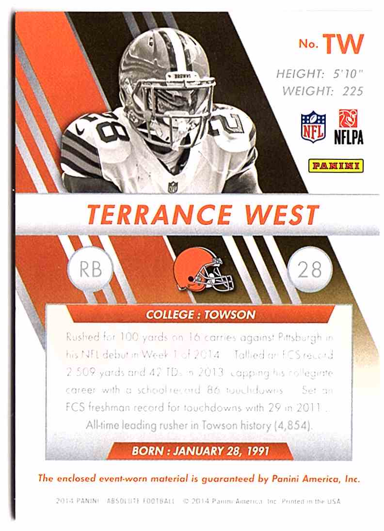 2014 Absolute Rookie Jersey Collection Terrance West #RJTW card back image