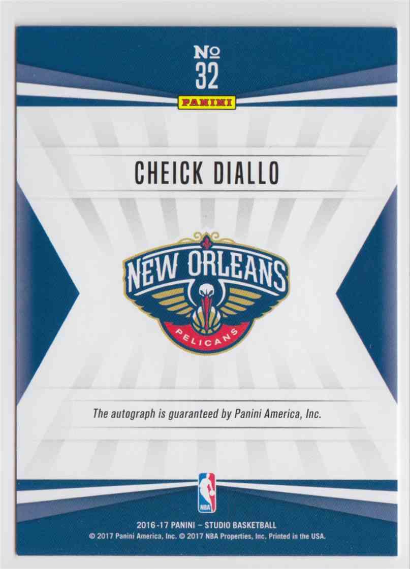 2016-17 Panini Studio Signatures Cheick Diallo #32 card back image
