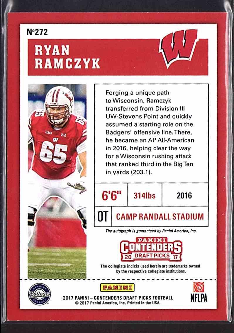 2017 Panini Contenders Draft Picks Ryan Ramczyk #272 card back image