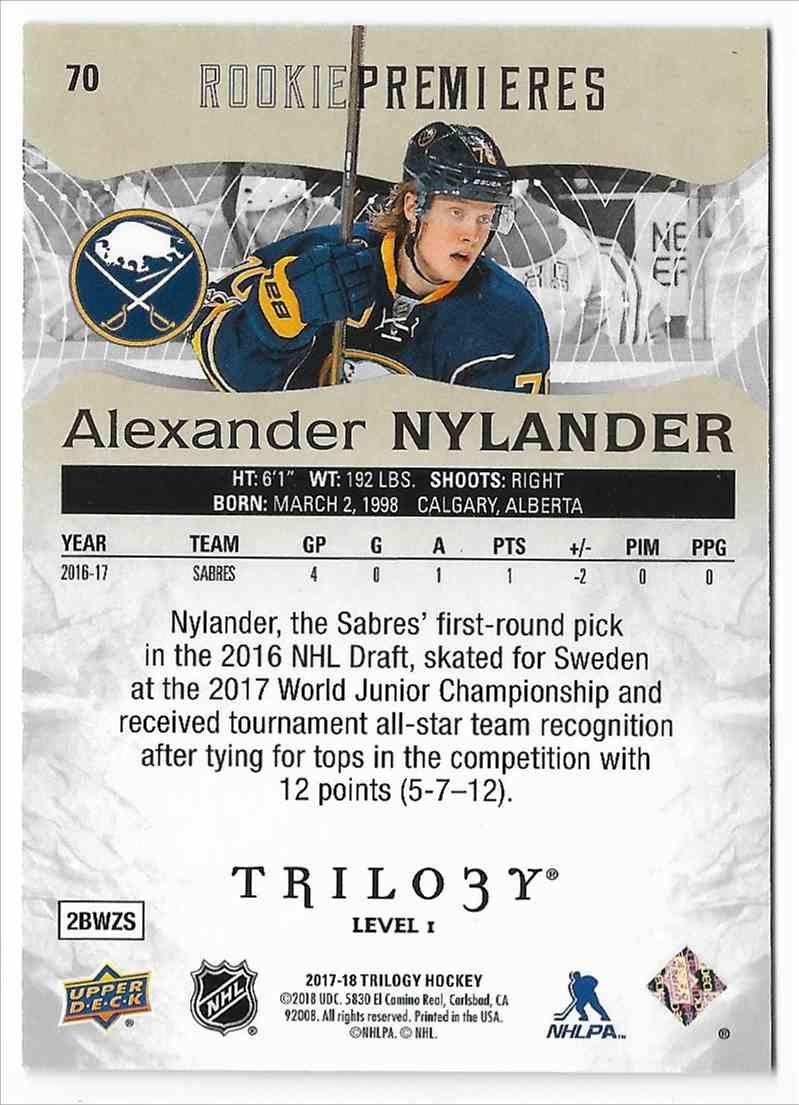 2017-18 Upper Deck Trilogy Alexander Nylander #70 card back image