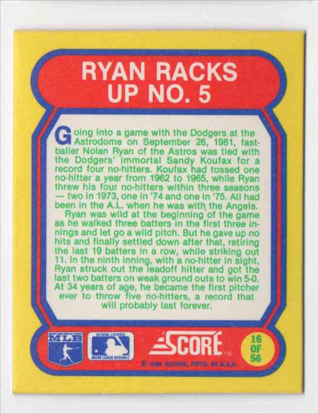 1988 Score Trivia Nolan Ryan #16 card back image