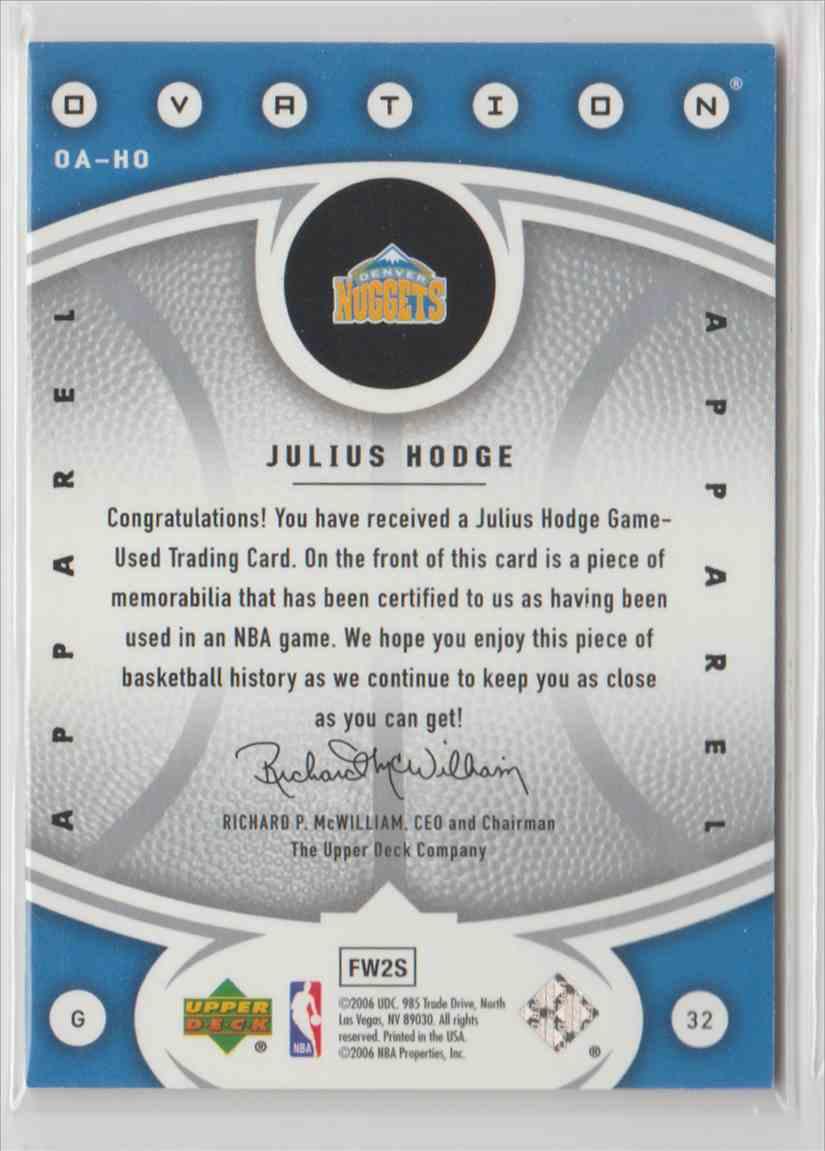2006-07 Upper Deck Ovation Apparel Julius Hodge #OA-HO card back image