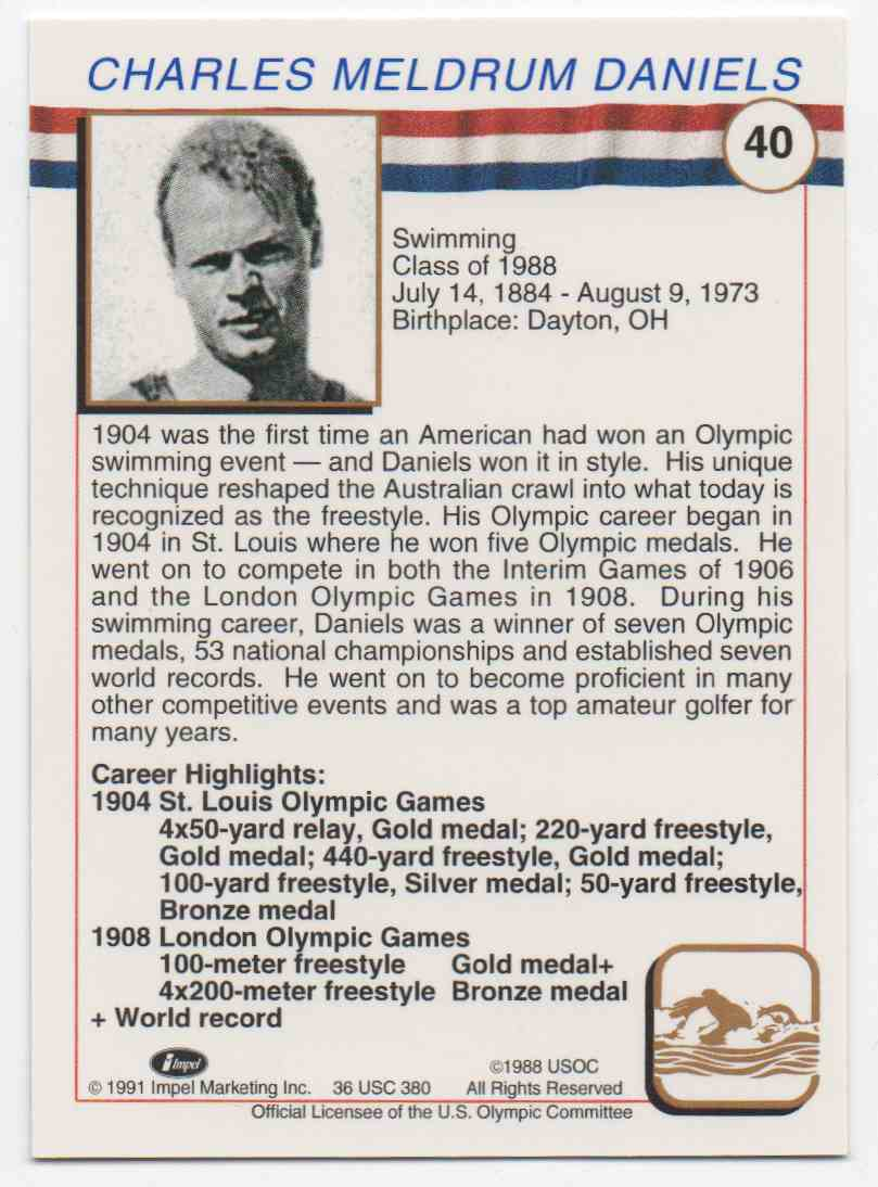 1991 Impel U.S. Olympic Hall Of Fame Charles Daniels #40 card back image