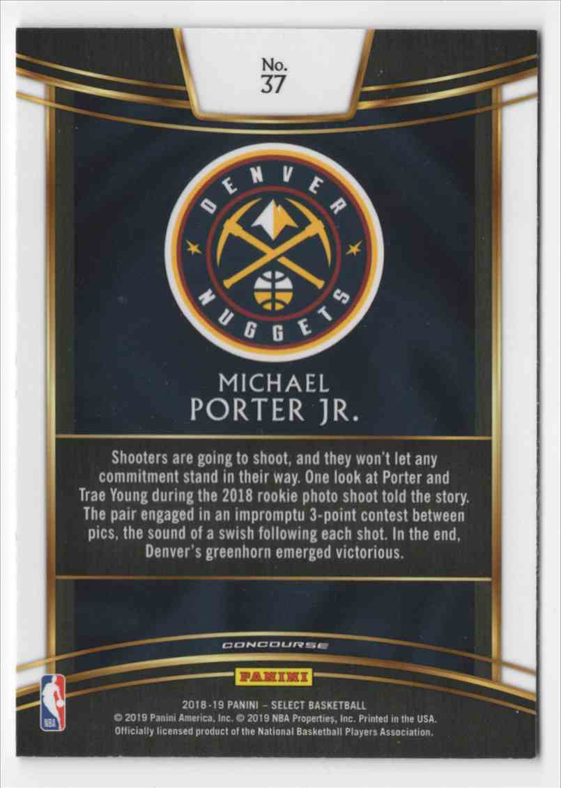 2018-19 Panini Select Michael Porter JR. #37 card back image