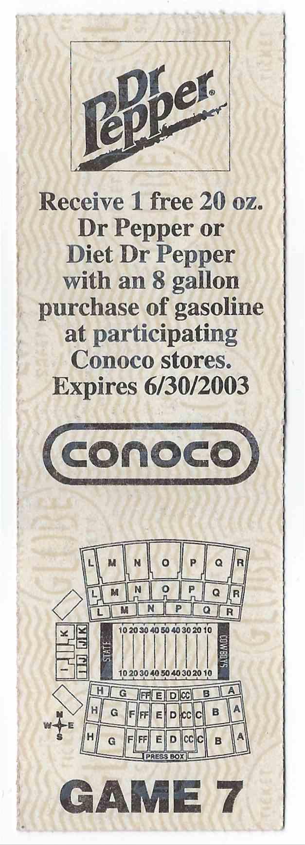 2002 College Football Ticket Stub Oklahoma Vs Oklahoma State Bedlam card back image