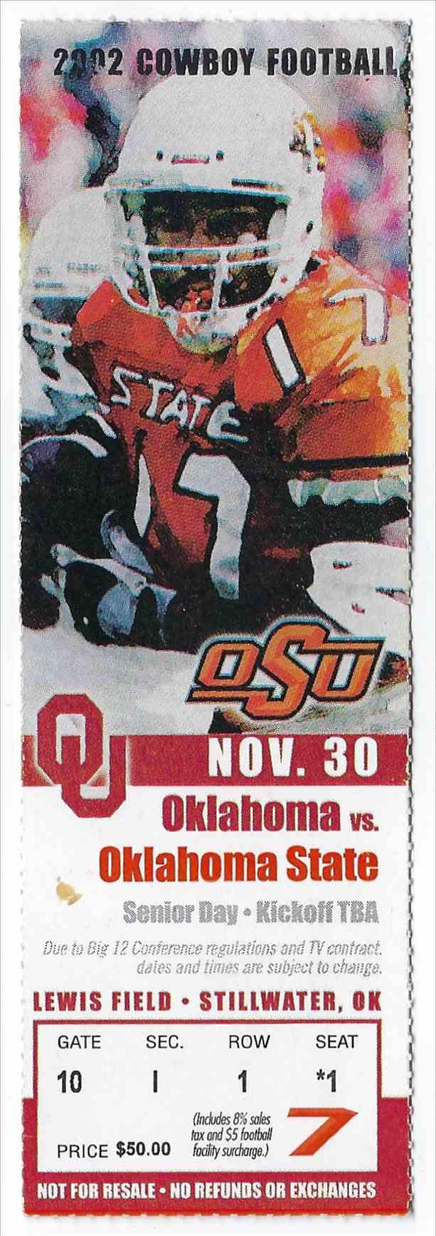 2002 College Football Ticket Stub Oklahoma Vs Oklahoma State Bedlam card front image