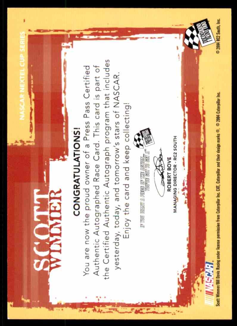 2004 Press Pass Authentics Scott Wimmer card back image