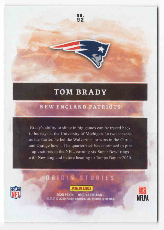 2020 Panini Origins Gold Tom Brady Os #92 card back image