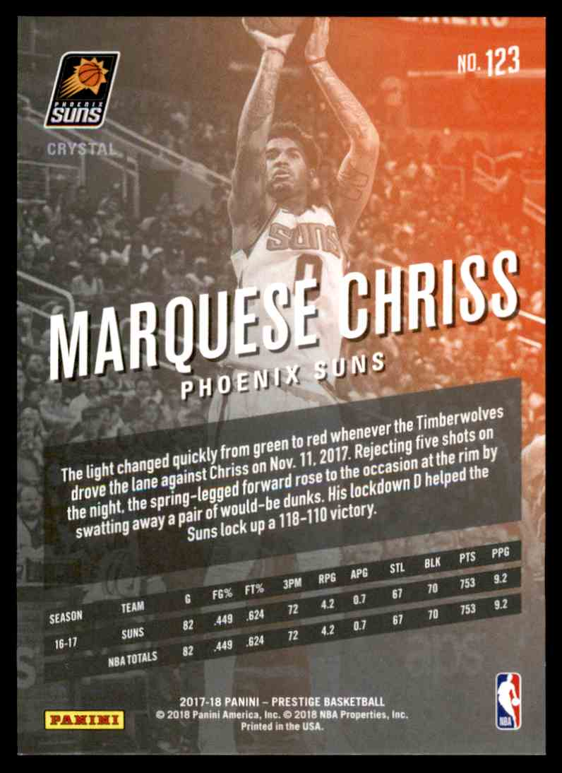 2017-18 Prestige Crystal Marquese Chriss #123 card back image