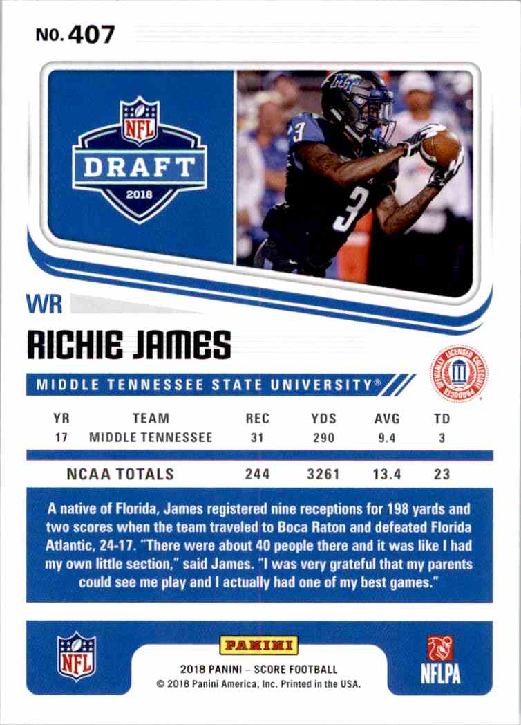 2018 Panini Score Richie James #407 card back image