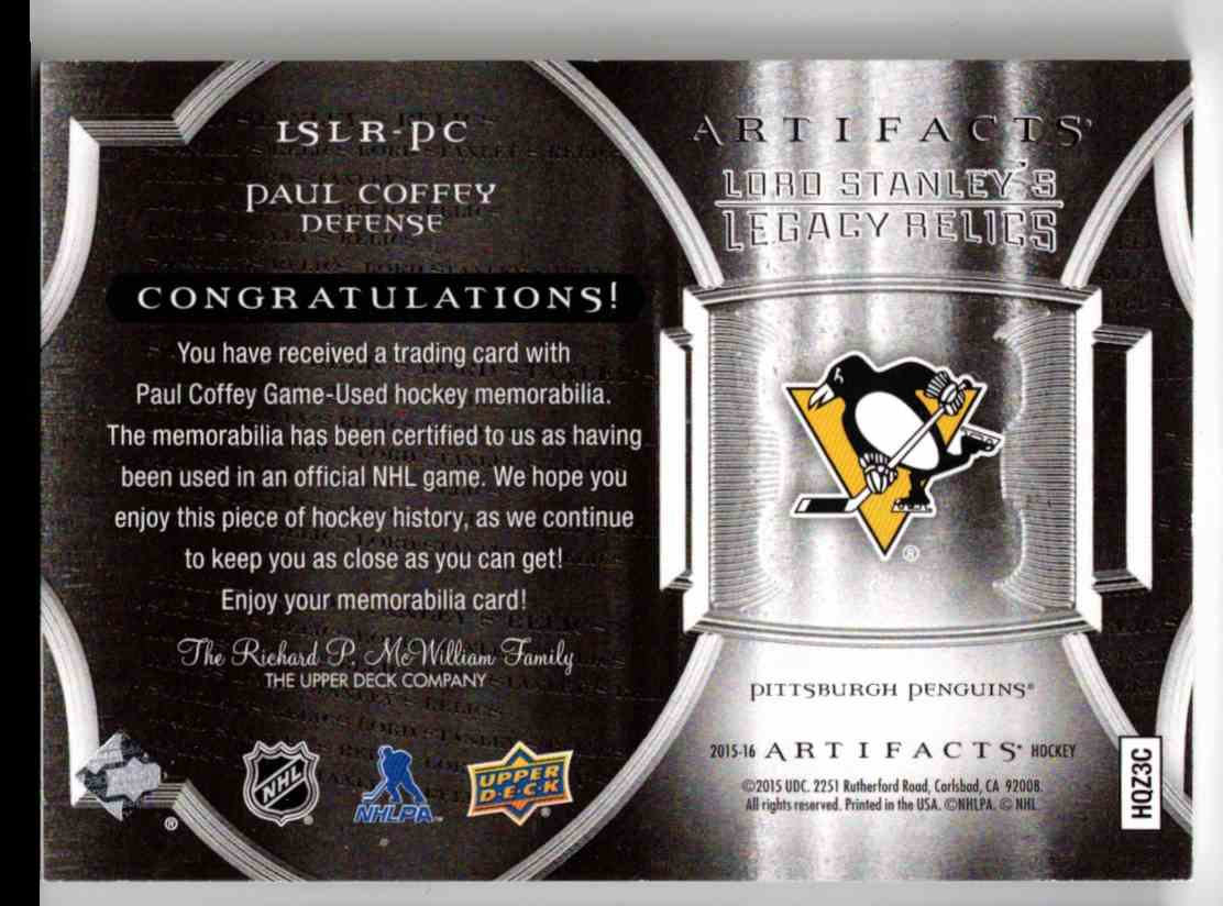 2015-16 Upper Deck Artifacts Lord Stanley's Legacy Relics Gold Paul Coffey #LSLR-PC card back image