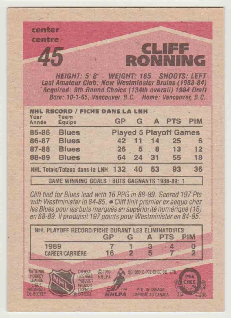 1989-90 O O-Pee-Chee Cliff Ronning #45 card back image