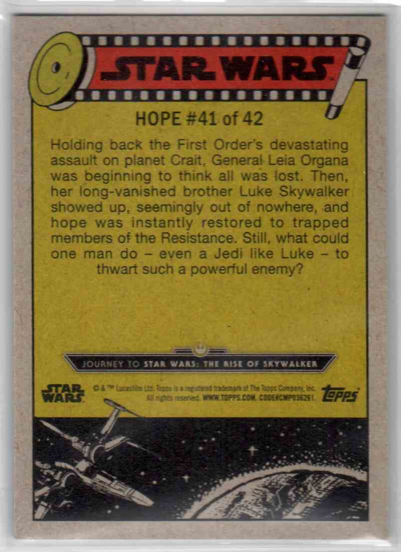 2019 Topps Star Wars Journey To Rise Of Skywalker Never Lose Faith #41 card back image