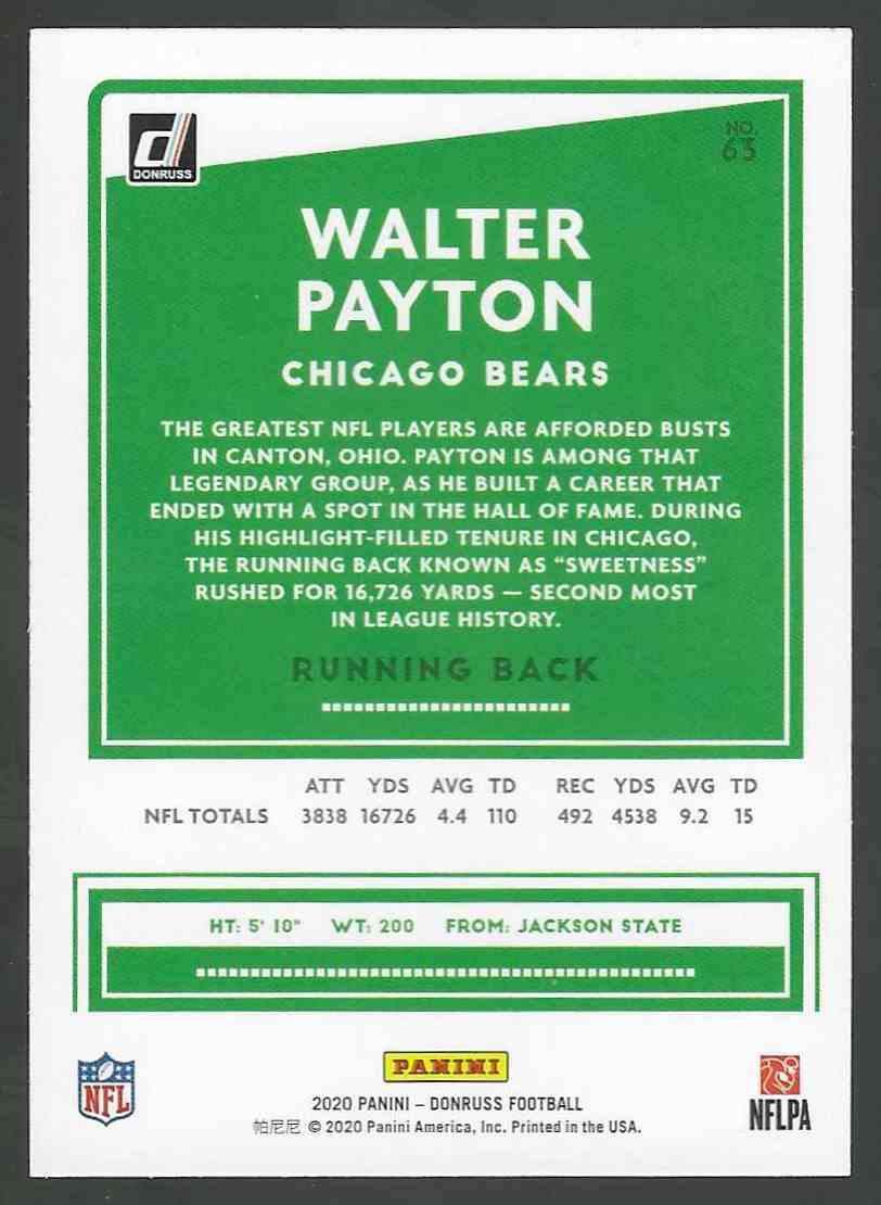 2020 Panini Base Walter Payton #63 card back image