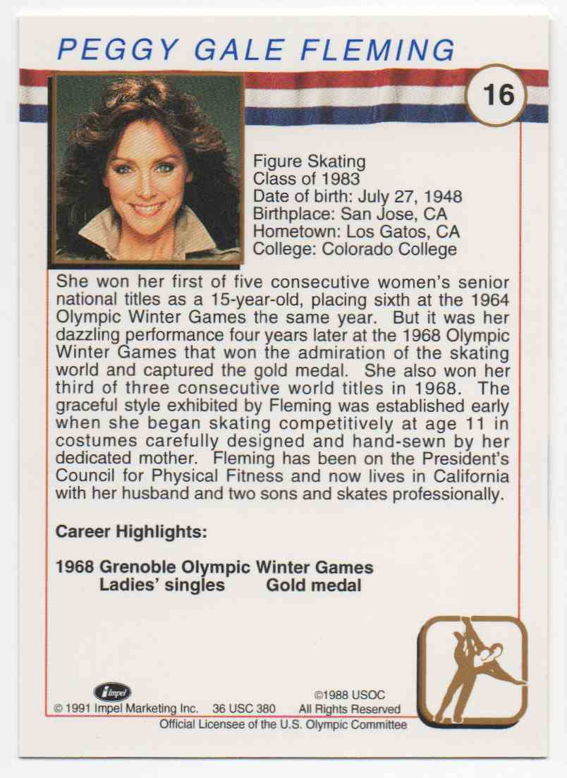 1991 Impel U.S. Olympic Hall Of Fame Peggy Fleming #16 card back image