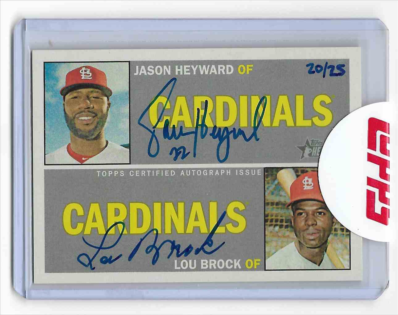 2016 Topps Heritage Real One Autographs Dual Heyward/Brock #HB card front image