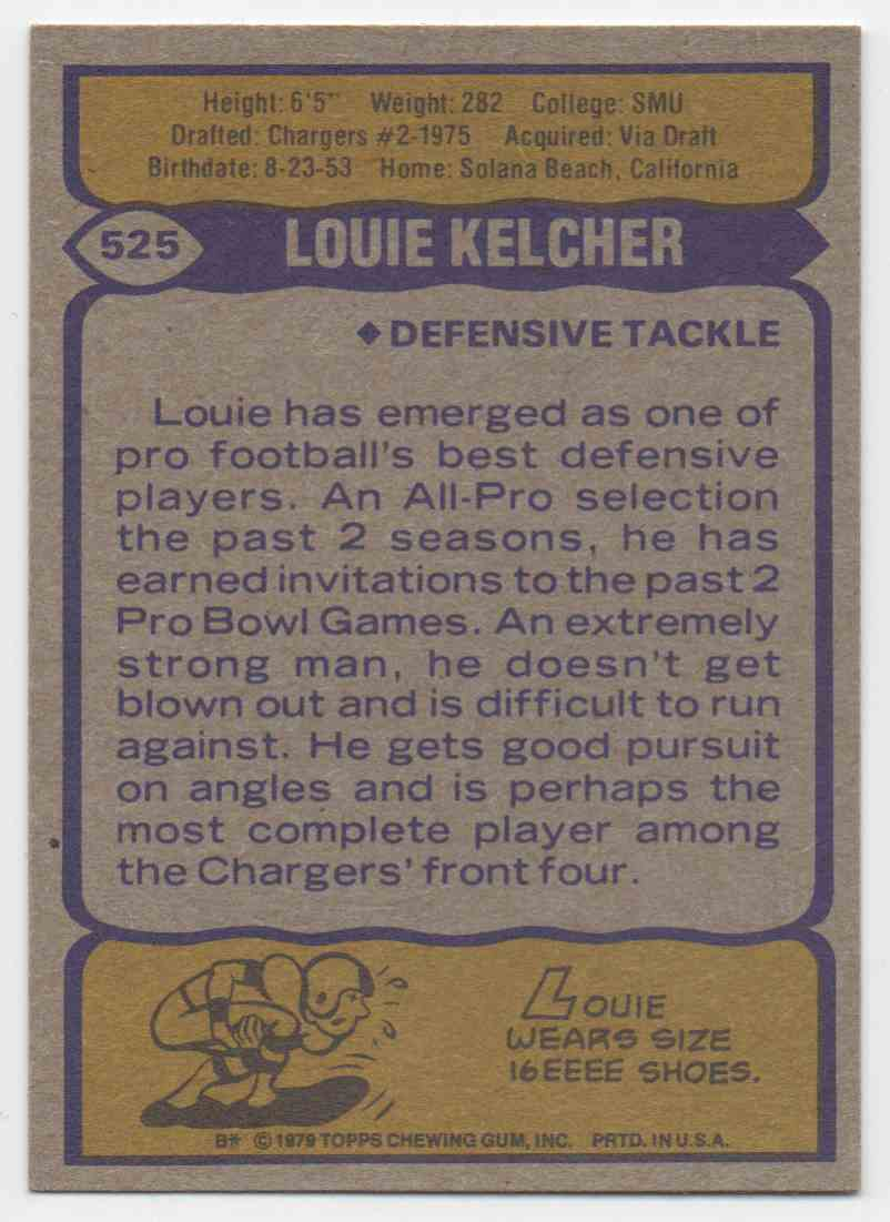 1979 Topps Louie Kelcher #525 card back image