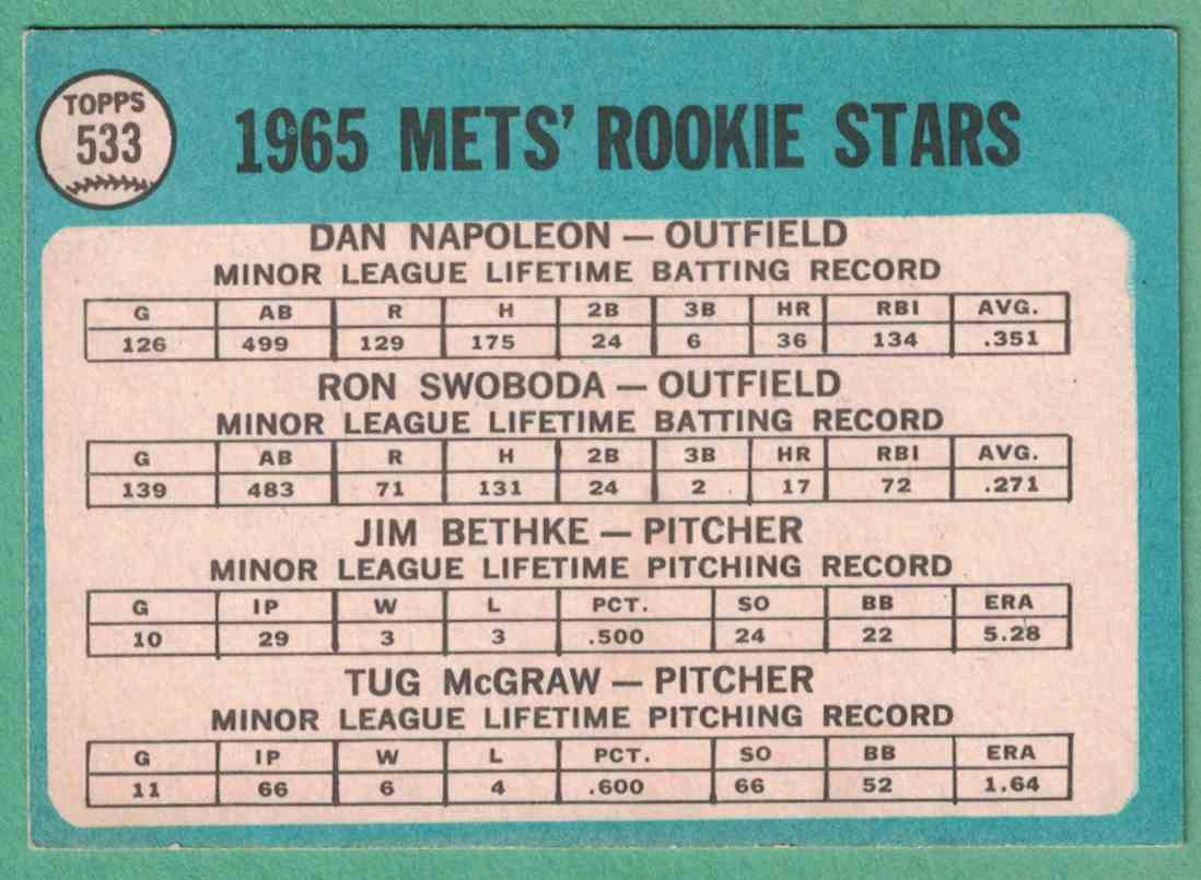 1965 Topps Tug McGraw Ron Swoboda Mets Rookie Stars EX+ #533 card back image