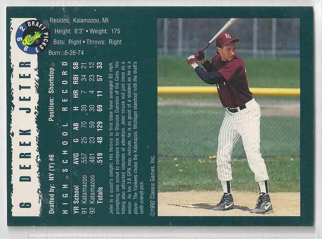 1992 Classic Draft Picks Derek Jeter #6 card back image