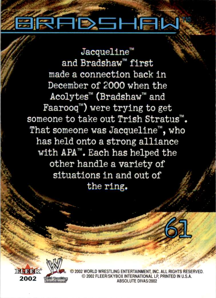 2002 Fleer Wwe Absolute Divas Bradshaw Ps #61 card back image