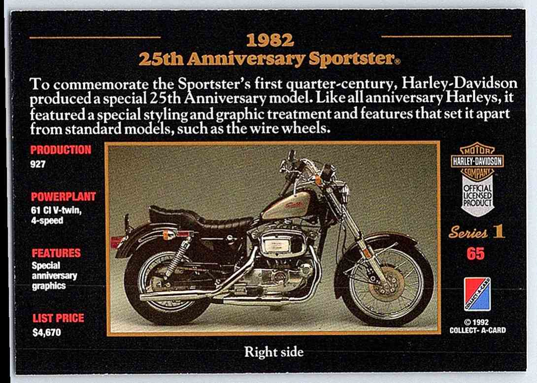 1992 Harley Davidson Series One 1982 25th Anniversary Sportster 65 Real Card Back Image