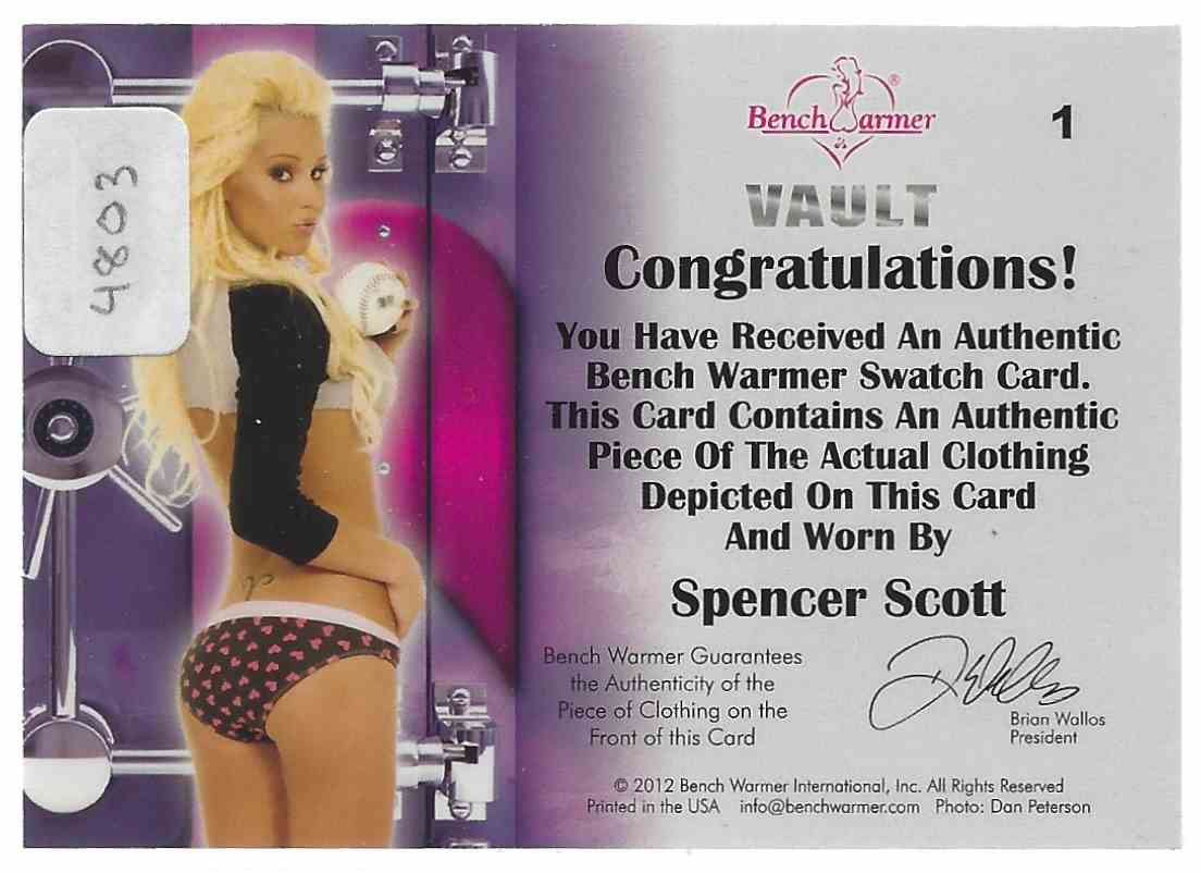 2012 Bench Warmer Vault Swatches Spencer Scott #1 card back image