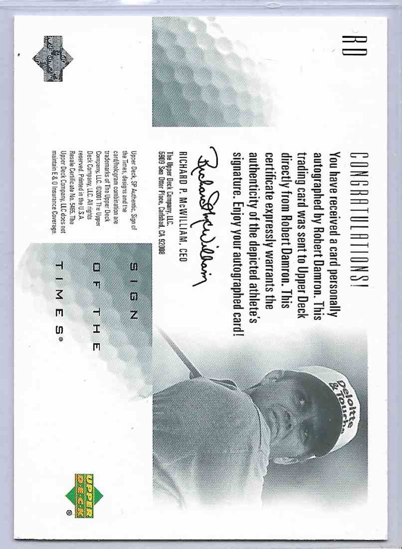2001 SP Authentic Robert Amron #RO card back image