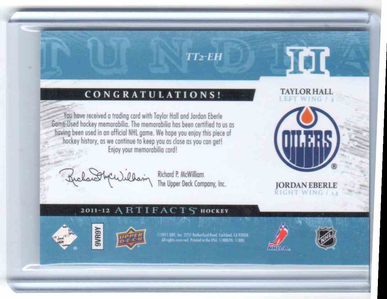 2011-12 Upper Deck Artifacts Tundra Tandem Jersey Blue Taylor Hall, Jordan Eberle #TT2-EH card back image