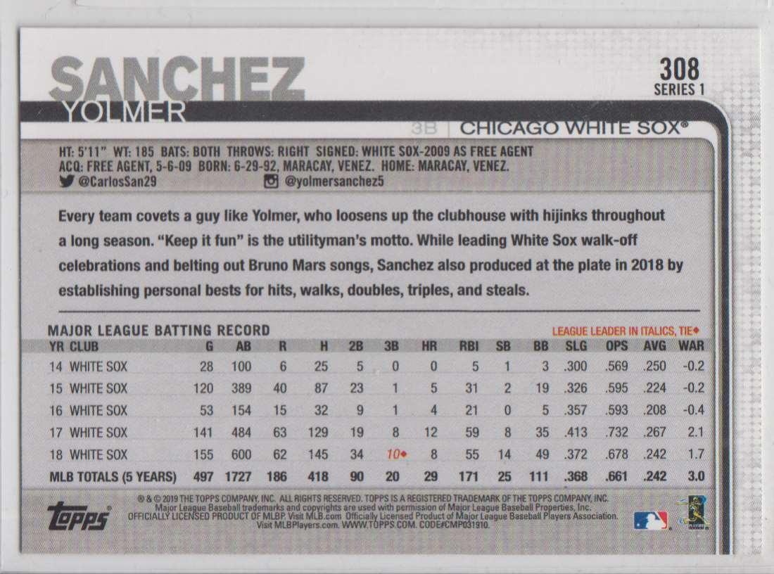 2019 Topps Yolmer Sanchez #308 card back image