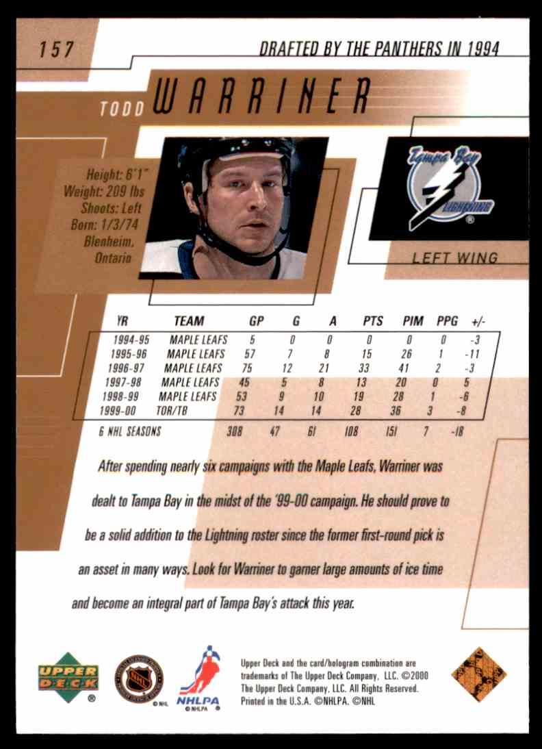 2000-01 Upper Deck Todd Warriner #157 card back image